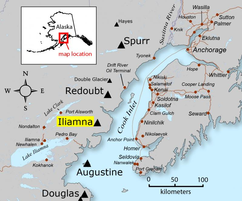 Locatioin map of Iliamna volcano (source: Alaska Volcano Observatory / Alaska Division of Geological & Geophysical Surveys)
