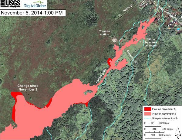 Bijgewerkte kaart van de lavastroom in Pahoa vanaf 5 november 2014 lokale tijd (HVO)