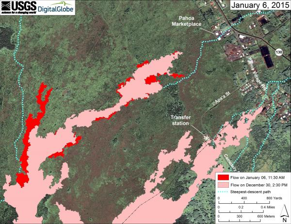 Map showing the location of the lava flow near Pahoa as of 6 Jan 2015 (HVO/USGS)