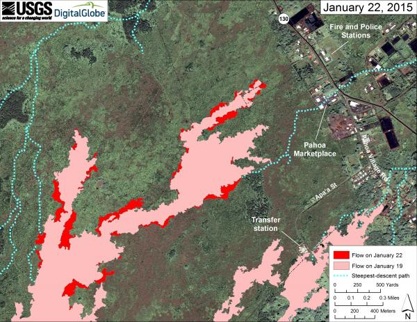 Map of the June 27th lava flow as of yesterday