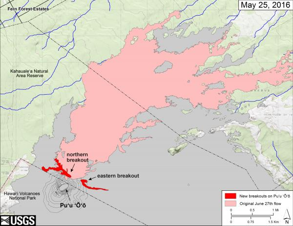 Map of the new lava flows from the 24 May breakouts