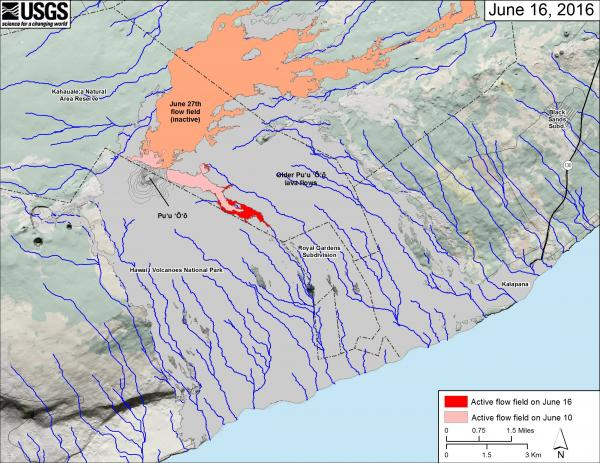 Map of Kilauea's new lava flow headed SE (map: HVO)