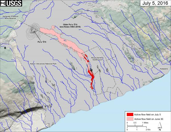 Map of Kilauea's new lava flow headed towards the ocean (map: HVO)