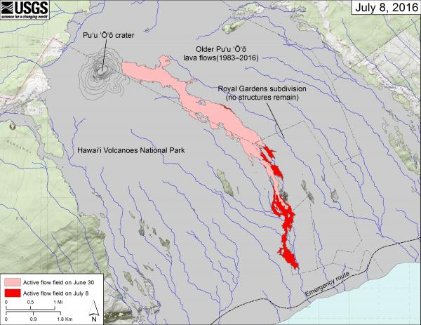 Lava flow field map as on 8 July 2016 (HVO)