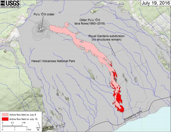 Lava flow map as of 19 July 2016 (HVO)