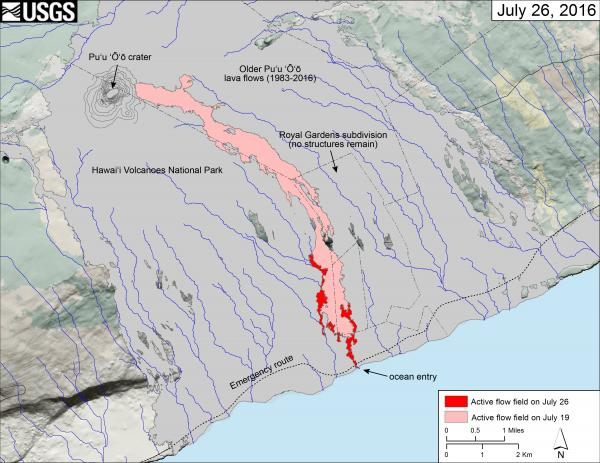 Map of Kilauea's new lava flow that reached the sea on 26 July 2016