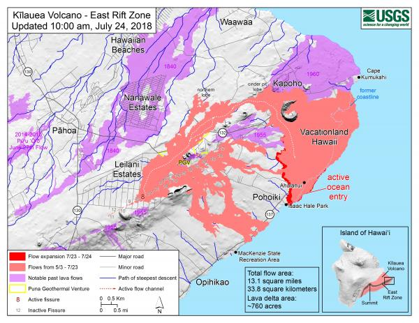 Lava flow map as of yesterday (image: HVO / USGS)