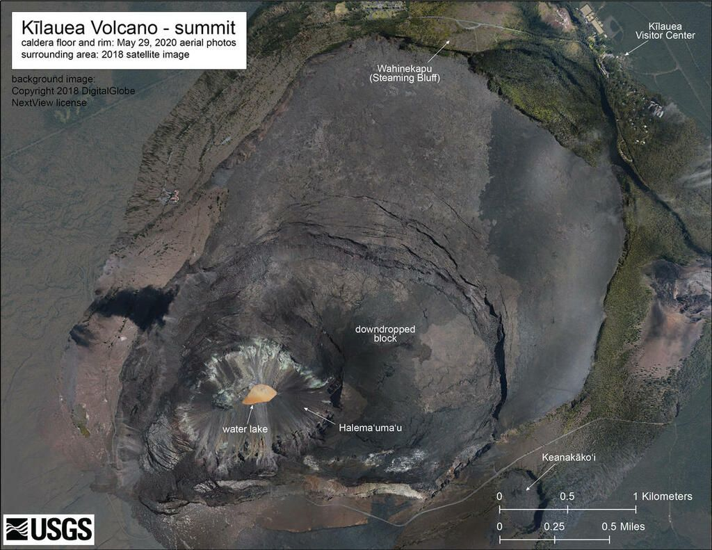 Annotated aerial image of the caldera as on 29 May 2020 for orientation and comparison (image: HVO)