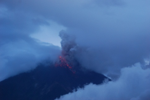 Eruption of Tungurahua volcano on 23 Feb, 2012 at around 18h00 local time (photo courtesy: G. Viracucha - IGEPN)