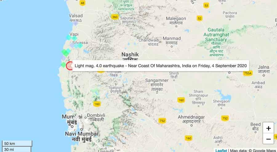 Location of last evening's felt quake in India