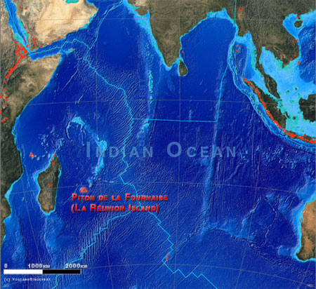 Location of Reunion Island in the Indian Ocean and its volcanoes (red triangles)