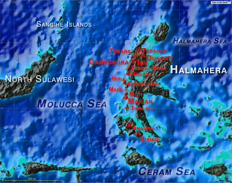 Map showing major active volcanoes of Halmahera (basemap created by UNAVCO map tool featuring Face of the Earth).