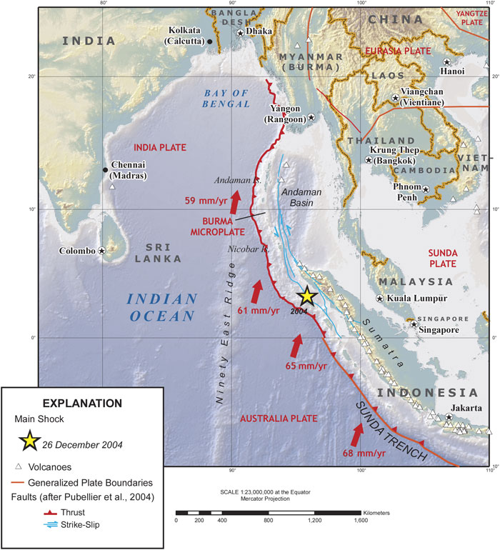 Simplified tectonic map of the Indian Ocean and Sumatra, movements of tectonic plates, the Sunda Trench, location of the great 2004 earthquake, and volcanoes in Sumatra. (USGS)