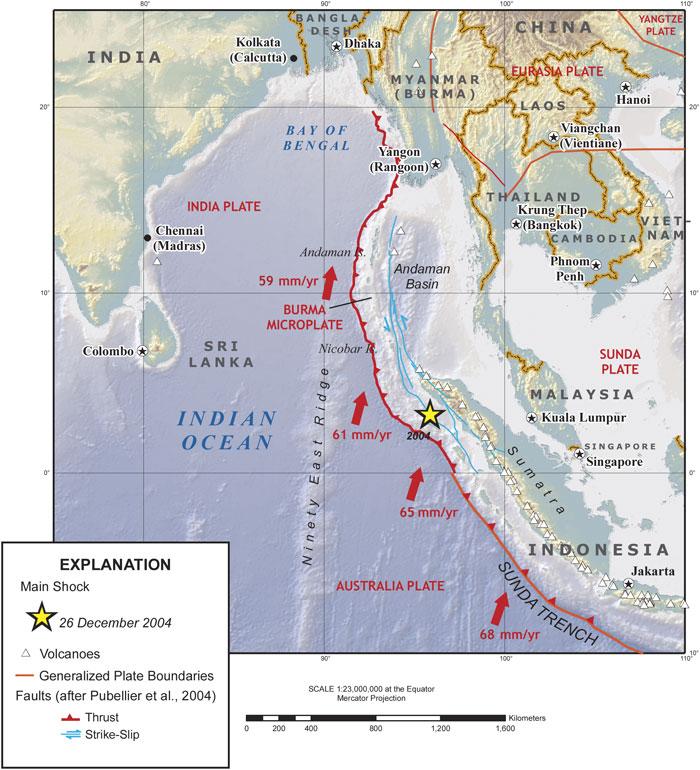 Vereinfachte, tektonische Karte des Indischen Ozeans und Sumatra. Man erkennt die Bewegungen der tektonischen Platten, den Sunda Tiefseegraben, der auch der Urspung des Erdbebens von 2004 war, das die schrecklichen Tsunamis ausgelöst hatte (USGS).