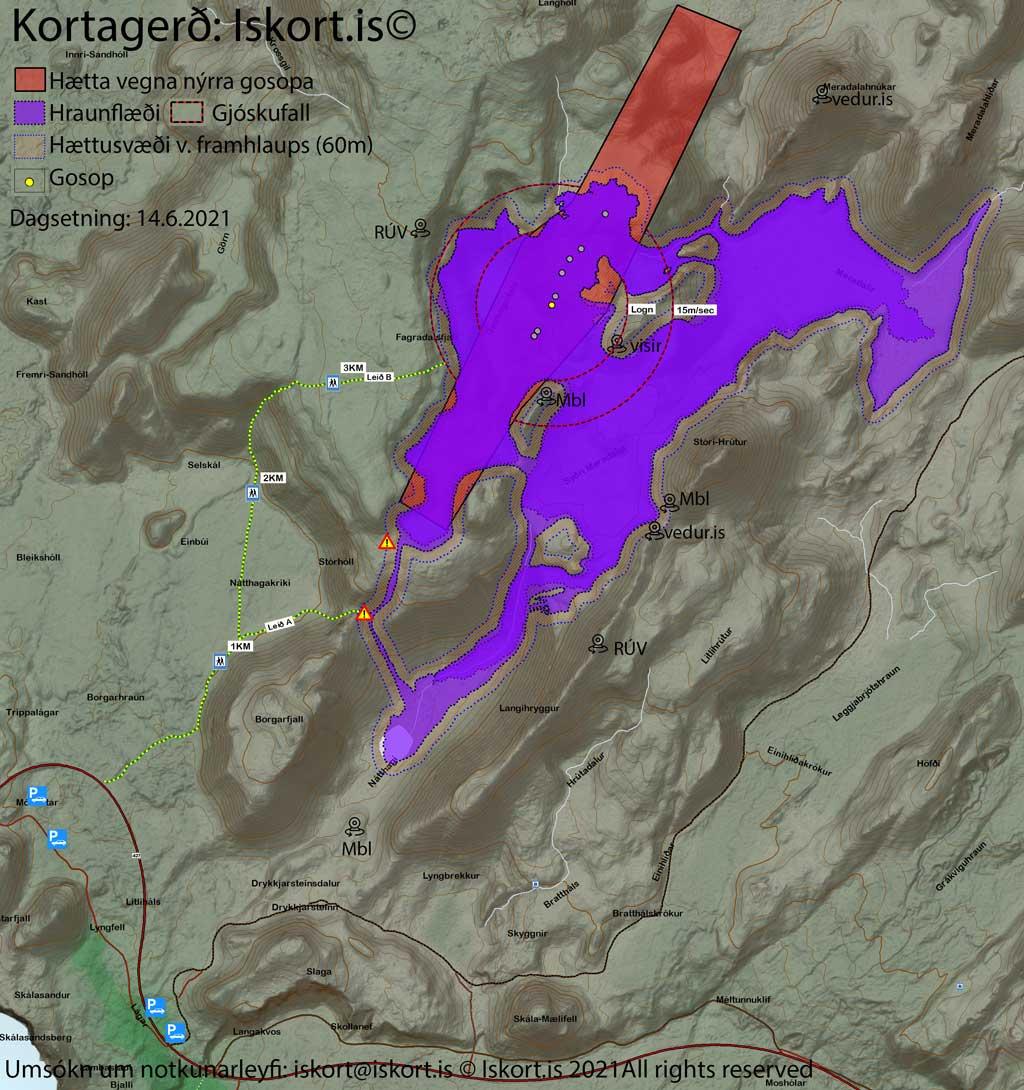 Latest map of the lava flows as of 14 June 2021 (image: https://www.almannavarnir.is/eldgos/)