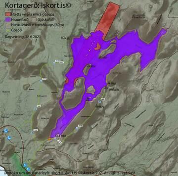 Latest lava flow field map as of 28 June 2021 (image: www.almannavarnir.is)