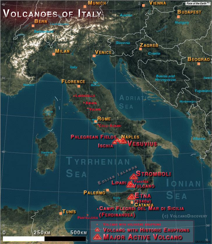 Carte des volcans d'Italie (Base créée à partir de la carte voyager UNAVCO avec en arrière plan l'image de la Terre TM)