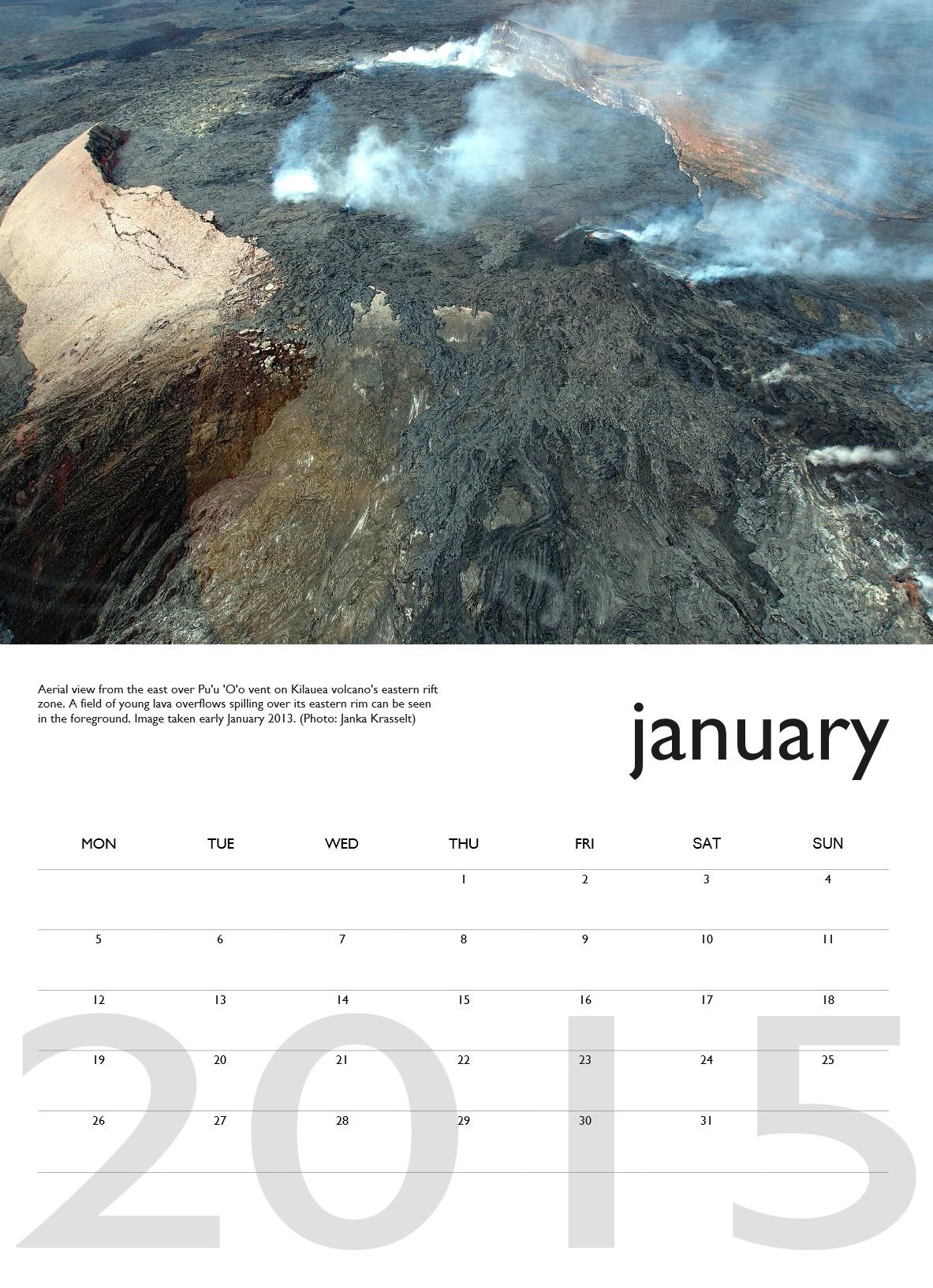 Volcano calendar 2015 - January preview