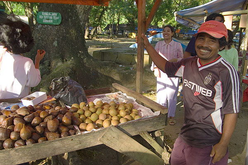 Buying snake-skin fruit (salak) on a local market