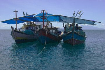 Fisherboats anchored near the beach
