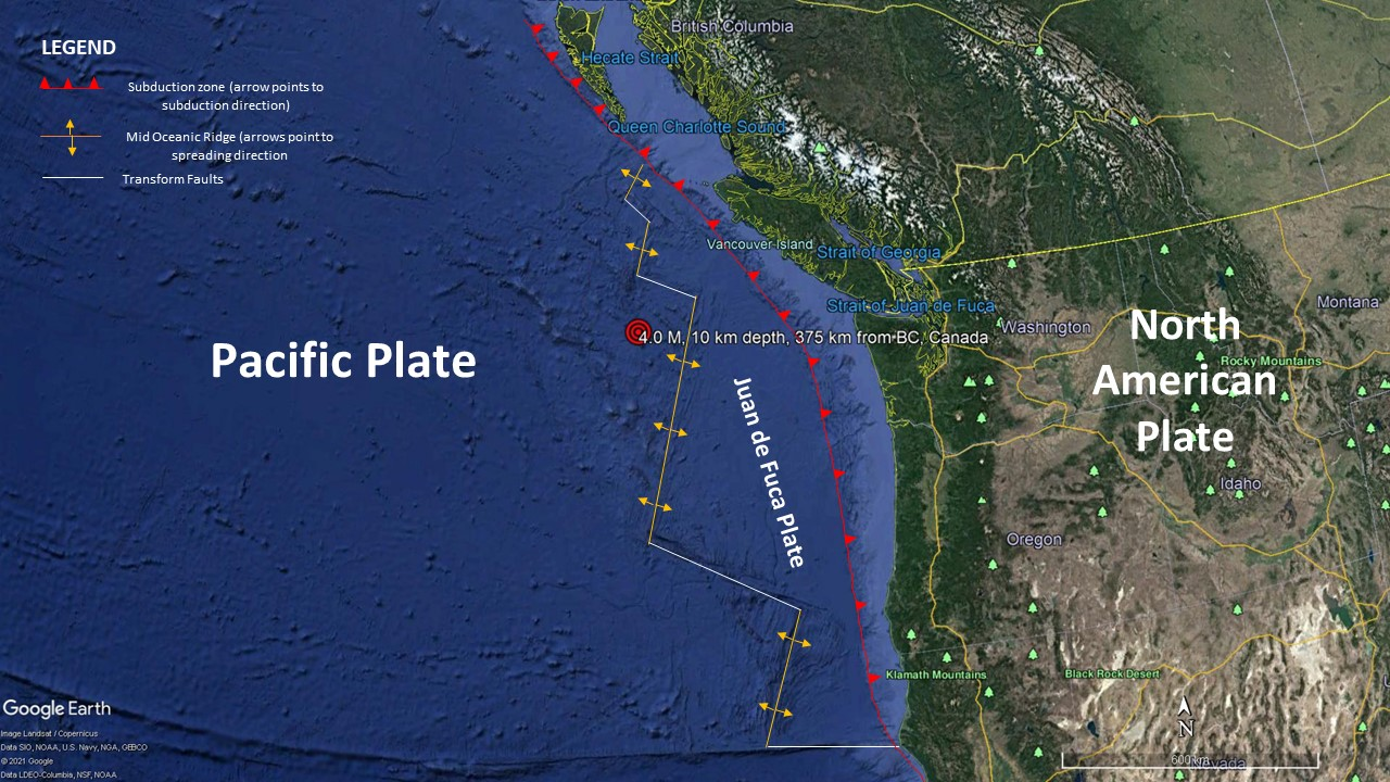 Image showing the locations, relative to one another, of the Pacific Plate, North American Plate, and the Juan de Fuca Plate. (source: Google Earth)