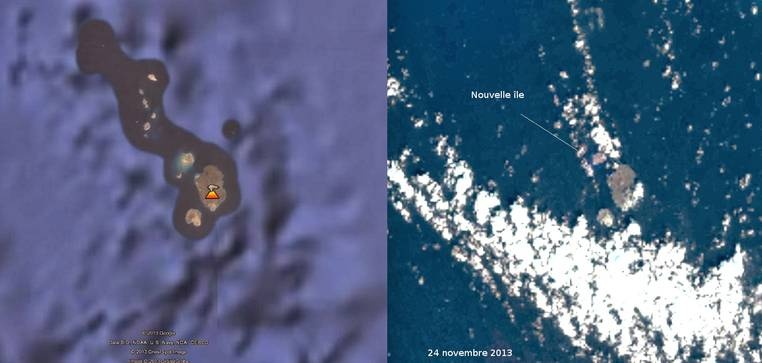 Comparison google earth image and Landsat satellite image from 24 Nov, where the new island can be seen (Blog Culture Volcan)