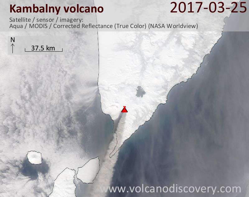Satellite image of Kambalny volcano on 26 Mar 2017