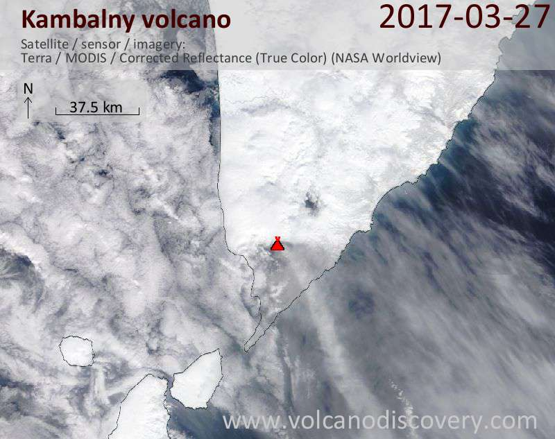 Satellite image of Kambalny volcano on 28 Mar 2017