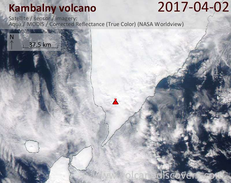 Satellite image of Kambalny volcano on  2 Apr 2017