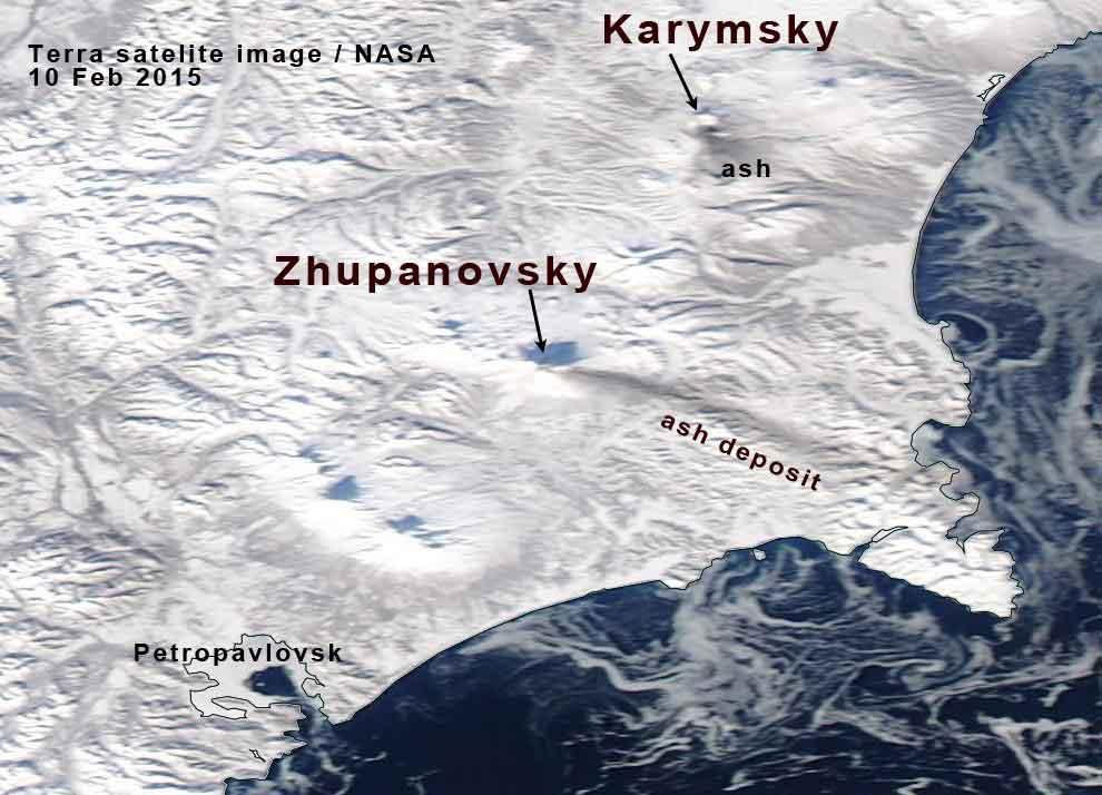 Ash plume (its deposit on snow) from Zhupanovsky (image