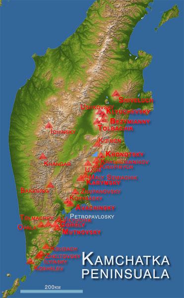 Map of Kamchatka's major active volcanoes (basemap: NASA).