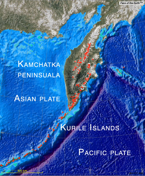 Tectonic map of the Kamchatka peninsula and the Kurile islands. Red triangles show active volcanoes. (Map created using the UNAVCO / Voyager map tool, featuring Face of the Earth)