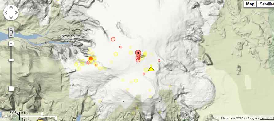 Recent quakes at Katla (red and orange dots=past 48 hrs)