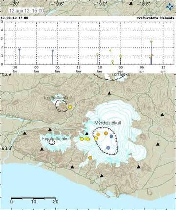 Map and location of recent quakes under Katla (Icelandic Met Office)