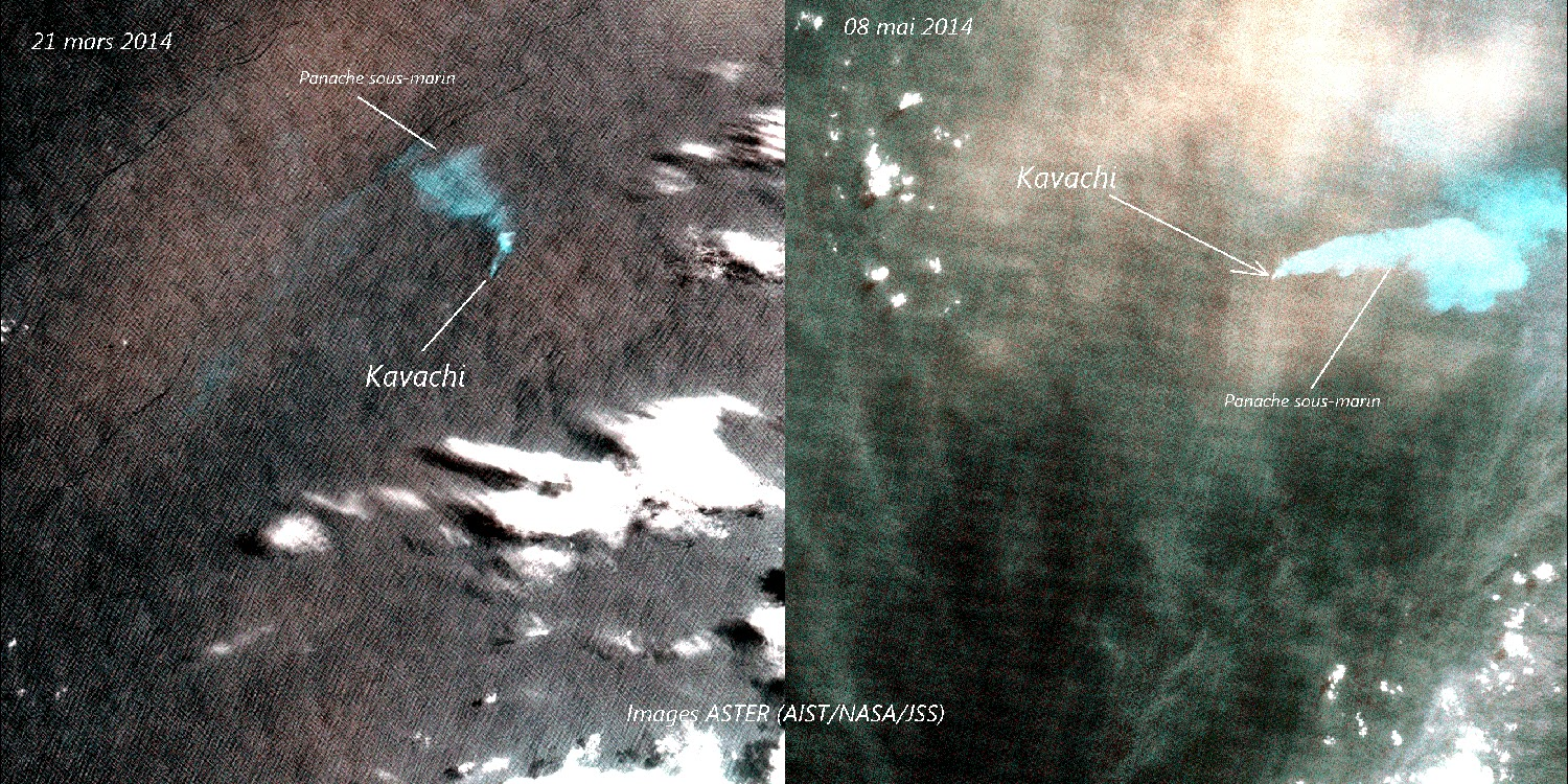 Satellite images showing a discolored water plume from Kavachi (NASA, compiled and annotated by Culture Volcan)