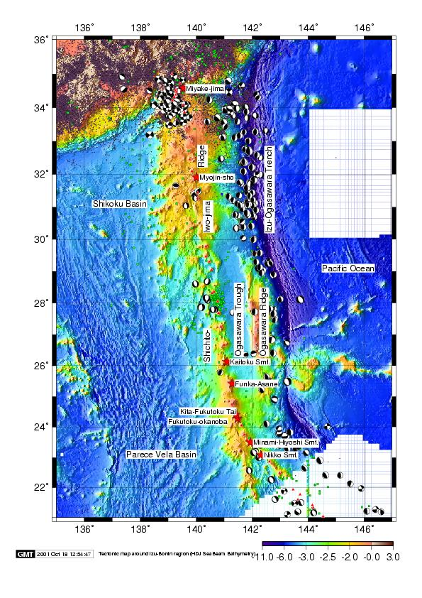 Map of the volcanoes in the Izu-Marianas volcanoc arc stretchung SSE from Japan (map: Japanese coast guard).