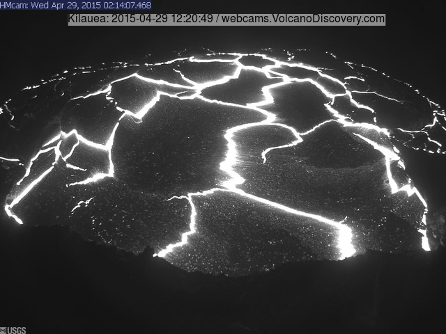 Overflow of Kilauea's summit lava lake early this morning