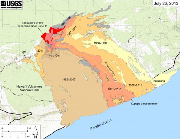 Extension of Kilauea's lava flows on 26 July 2013 (HVO)