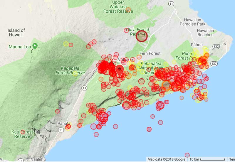 Map of recent quakes on Kilauea volcano