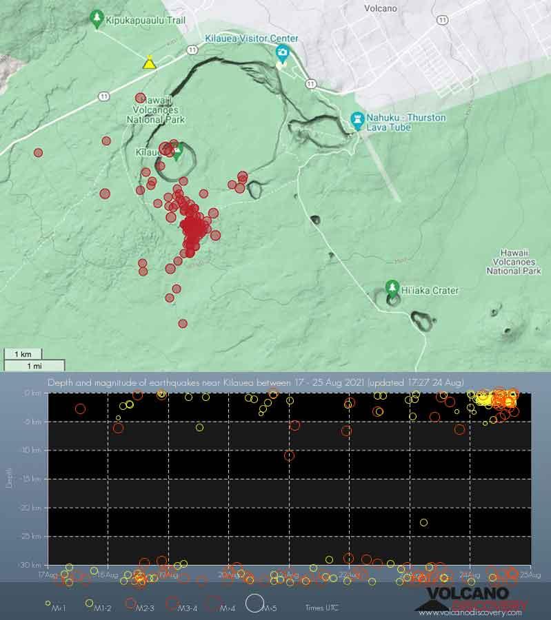 Recent quakes under the caldera of Hawai'i's Kilauea volcano
