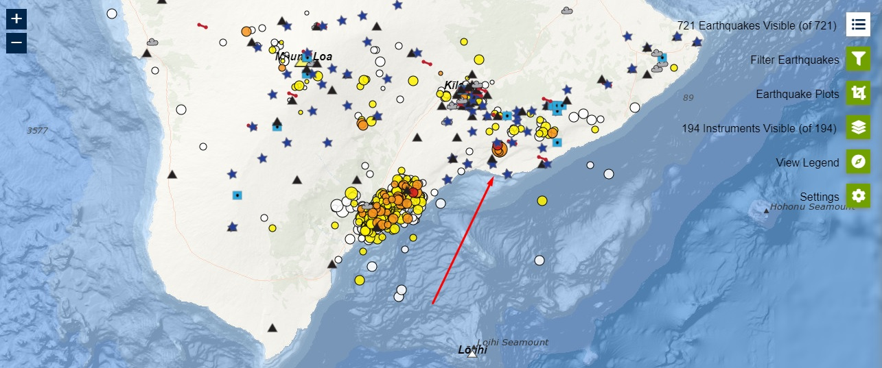 Distribution of earthquakes beneath Kilauea volcano including the latest M 4.2 event as red arrow shows (image: HVO)