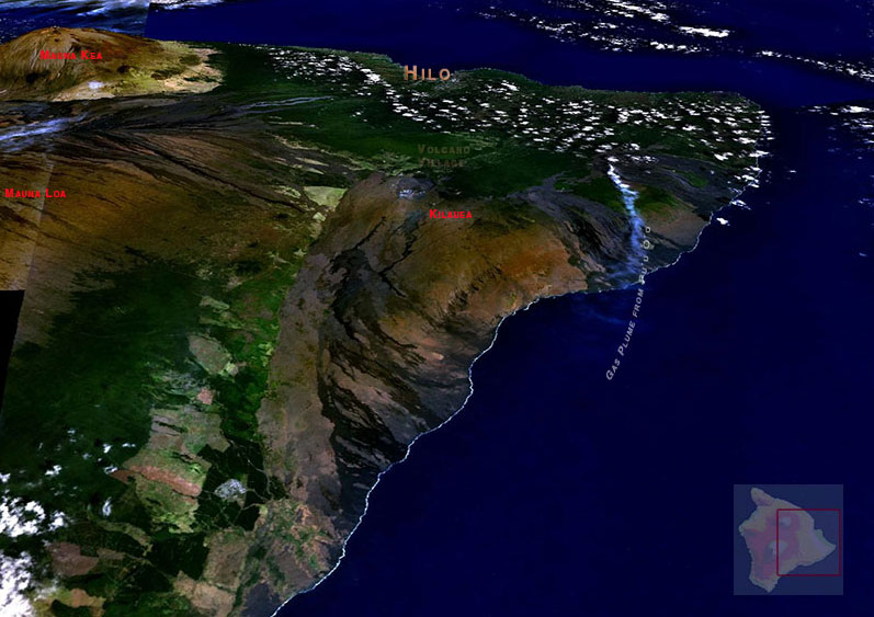 Three-dimesional view of Kilauea volcano based on satellite imagery.