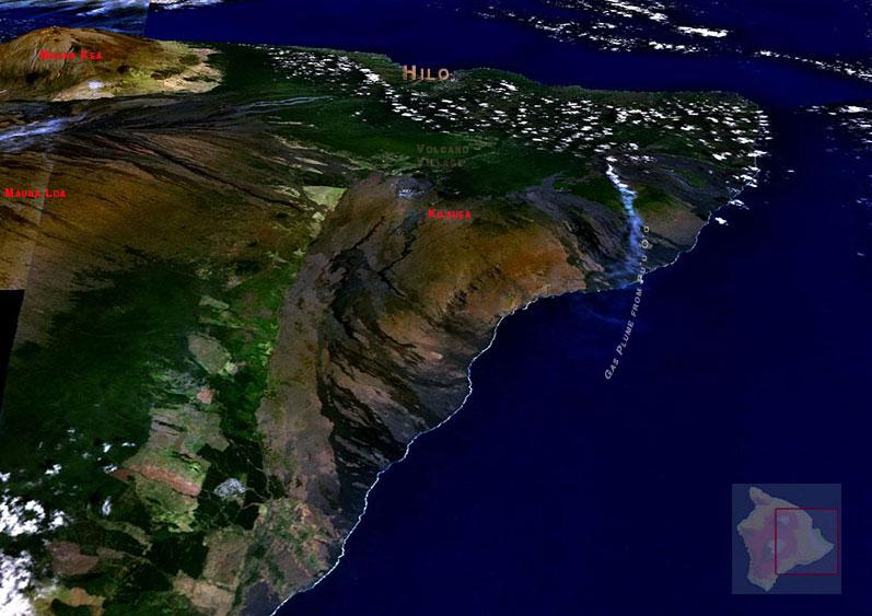 Three-dimesional view of Kilauea volcano based on satellite imagery.