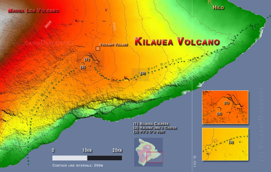 Map of Kilauea volcano, Big Island Hawai'i