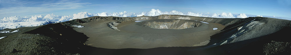 The crater of Kilimanjaro with its famous concentric structure of nested calderas (photo courtesy: P. Nicholson)