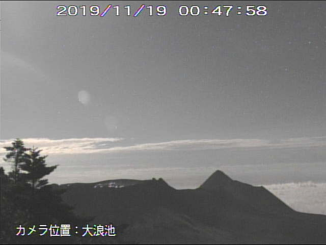 Kirishima's Shinmoedake crater seen this evening (MBC webcam(
