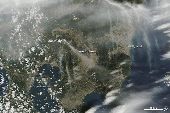 Ash plume from Kirishima volcano drifting SE over Kyushu Island (26 Jan). Image credit: NASA Earth Observatory