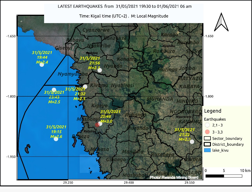 Latest earthquakes in the area of northeastern Lake Kivu (image: Rwanda Seismic Monitor)