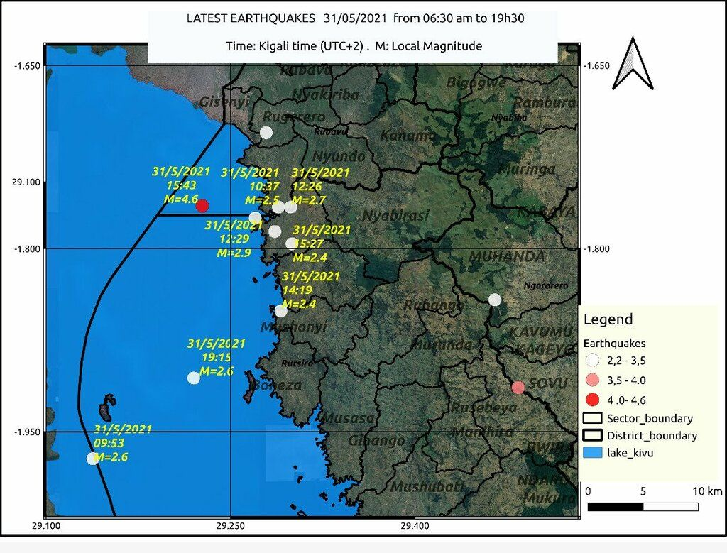 Earthquakes in the area of northeastern Lake Kivu yesterday (image: Rwanda Seismic Monitor)