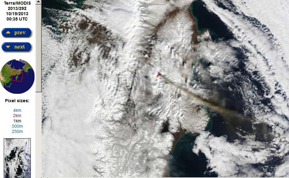 The large ash plume from Klyuchevskoy drifting east over Kamchatka this morning (Terra satellite image)